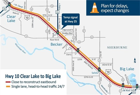 Big Lake to Clear Lake Highway 10 project map
