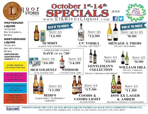 Liquor Store Specials Oct 1 - 14