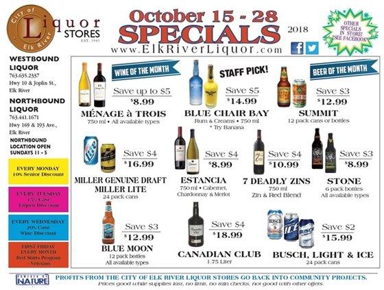 Liquor Store Specials Oct 15 - 28