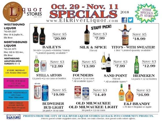 Liquor Store Specials Oct 29 - Nov 11
