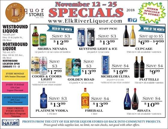 Liquor Store Specials Nov 12 - 25