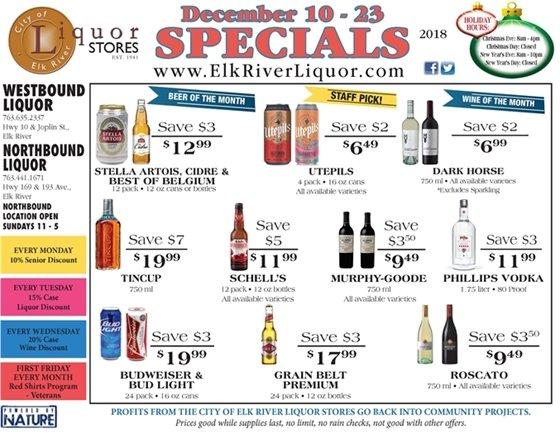 Liquor Store Specials December 10 - 23