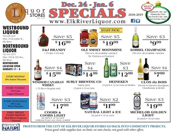 Liquor Store Specials December 24 - Jan 6