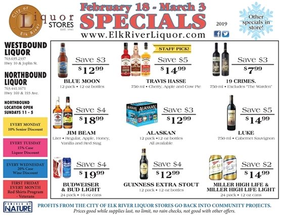 Liquor Store Specials Feb 18 - March 3
