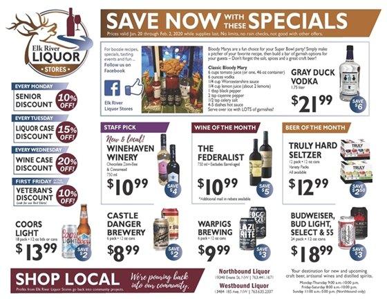 Liquor Store Specials January 20-February 2