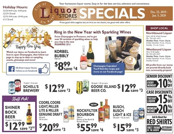 Liquor Store Specials December 23 - January 5