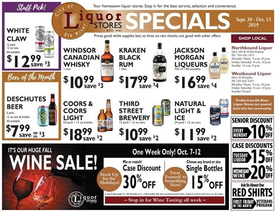 Liquor Store Specials Sept 30 - Oct 13