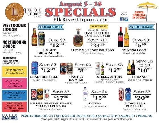 Liquor Store Specials August 5 - 18