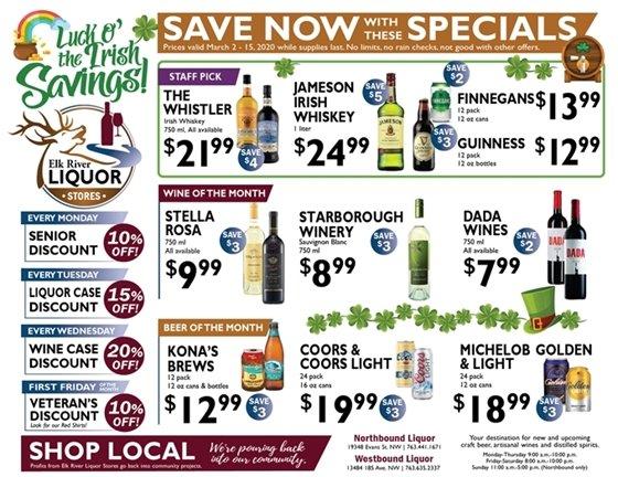 Liquor Store Specials March 2-15