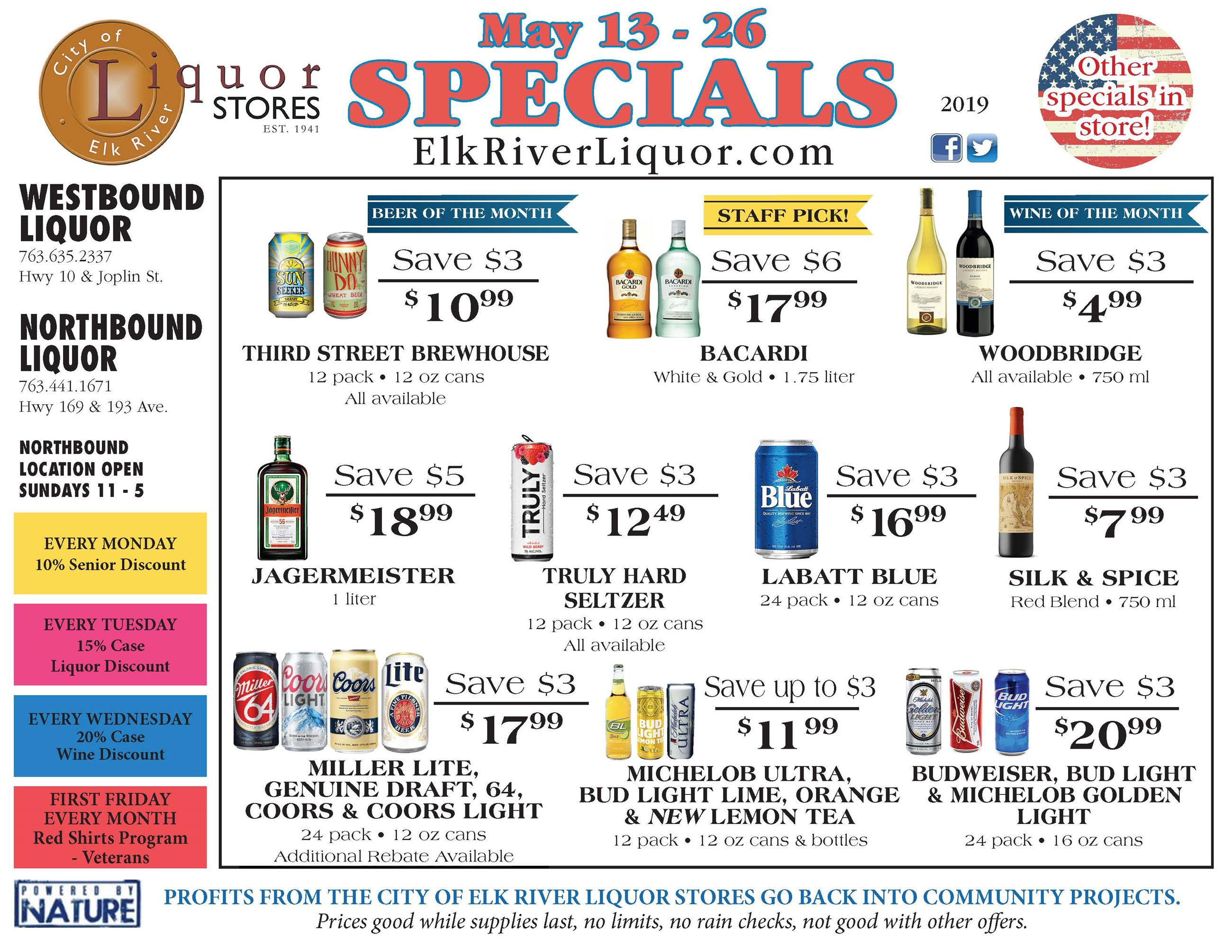 Elk River Liquor specials May 13-26, 2019