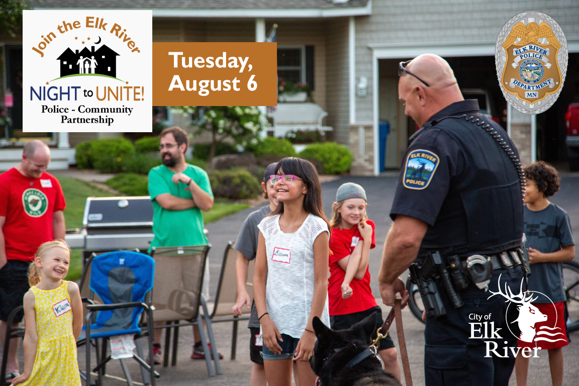 Night to Unite Aug 6, 2019  Officer with dog and children