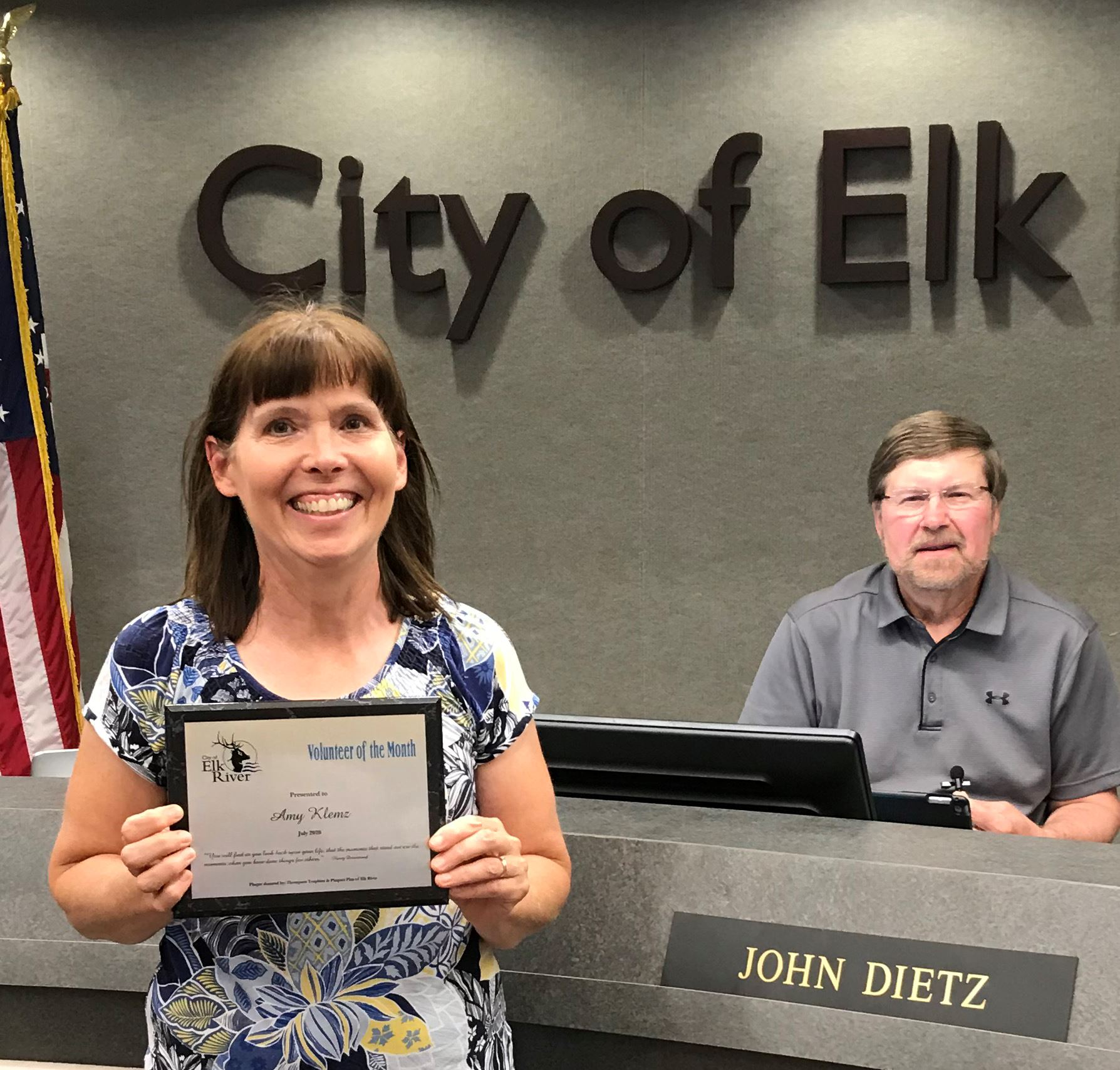 July Volunteer of the Month award to Amy Klemz